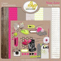 Neon Love mini kit freebie from Yellow Butterfly*