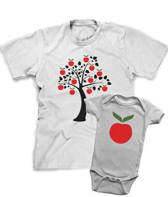 Daddy Son Shirt, Set of two shirts, apple tree, apple doesnt fall far from the tree, funny kid shirts,Father Son T Shirt, funny, dad, son