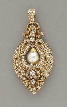 In the Swan's Shadow: ANTIQUE PEARL, DIAMOND AND GOLD PENDANT, ca. 1860