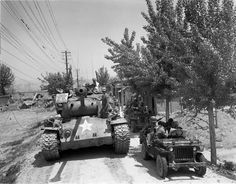 And a Pershing Tank M26 Pershing, Sherman Tank, Tank Destroyer, Korean People, Armored Fighting Vehicle, Battle Tank, Ww2 Tanks, Military Photos, Korean War