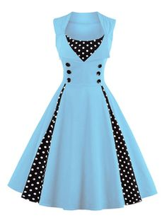 Vintage vestido luz azul Praça decote sem mangas bolinhas feminino plissado Skater Dress