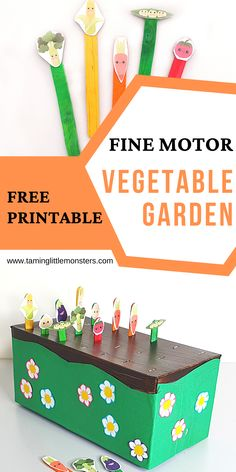 This Vegetable garden posting activity for kids is a fantastic fine motor activity for toddlers and preschool. A free printable that is perfect for spring or healthy eating curriculums. #spring #finemotor #toddlers #preschool #healthyeating Fine Motor Activities For Kids, Motor Skills Activities, Printable Activities For Kids, Infant Activities, Kindergarten Activities, Preschool Activities, Summer Crafts For Kids, Crafts For Kids To Make, Spring Crafts