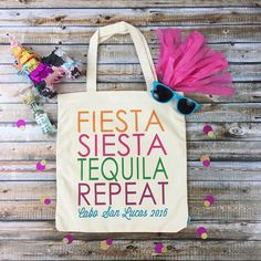 Are you planning a fab destination bachelorette in Mexico?! Then our adorable FIESTA SIESTA TEQUILA REPEAT totes are def must have for you and your girls!!