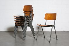 Elegant Tradition Teak and Steel Stacking School Chair