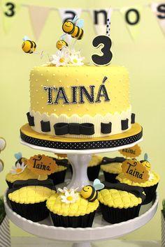Bumblebee Birthday Cake and Cupcakes