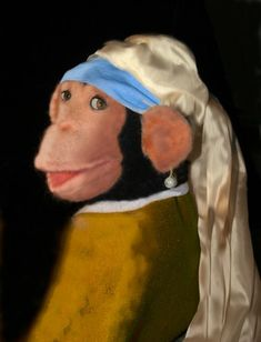 Needle felted: Chimp with a Pearl Earring by Laura Lee Burch, see chimp tutorial included
