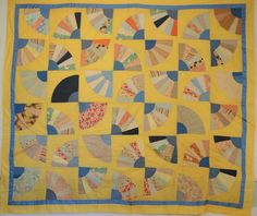 Vintage Quilt Top Grandmother's Fan Hand Pieced by MegWarnerStudio