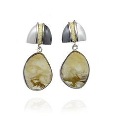 Butterscotch Amber Drops and Gold Plated Silver Earrings  from www.monartti.com | #silverearrings #dropearrings #StatementJewellery #silver #amber #jewellery #gemstones Silver Drop Earrings, Statement Earrings, Semi Precious Gemstones, Amber, Coin Purse, Fantasy, Jewels, Jewellery, Wallet