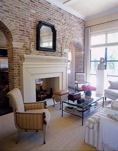 The furniture is far too formal, but the exposed brick and archways are nice.