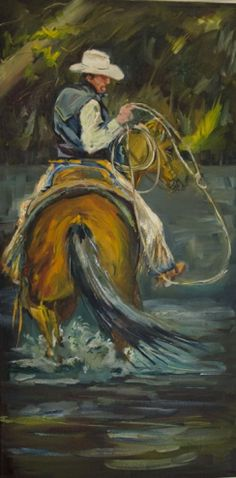 COWBOY Rope Western Horse Diane Whitehead Fine Art, painting by artist Diane Whitehead