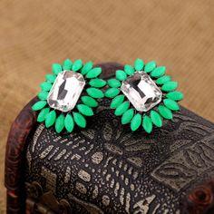 Cute Fuchsia Artificial Gemstones Stud Earrings
