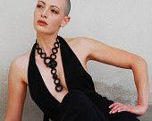 Black crochet statement necklace whit raku beads Statement jewelry Fashion jewelry Statement necklace