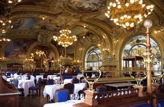 20 Best Under-the-Radar Things to Do in Paris - Belle Époque architecture hidden away in the Gare de Lyon train station. The brasserie's all-day hours make it the perfect stop for a coffee, a meal, teatime, or a drink at the sumptuous bar, plush with oriental rugs and grand chandeliers.