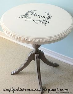 Today& reader featured project is a beautiful Chic Paris Table that was shared by Cynthia from Simply Chic Treasures! Cynthia purchased this sweet table at an auction, painted it with Chalk Paint Furniture, Cool Furniture, Repurposed Furniture, Shabby Chic Furniture, Drum Table, Cool Diy Projects, Diy On A Budget, Furniture Makeover, Paris Chic
