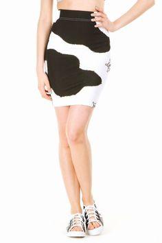 Jeremy Scott Cow Print High Waist Skirt