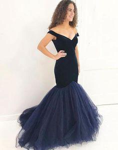 Off the Shoulder Navy Blue Mermaid Evening Dress $170.00