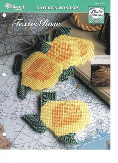 Texas Rose Yellow Coasters ~ plastic canvas pattern