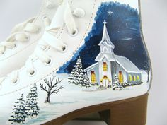 Hand Painted Ice Skates Winter Decor Christmas by DirtRode