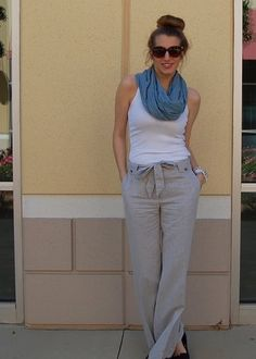 Khaki linen pants with white tank and scarf. This is my perfect summer outfit. Stitchfix: I LOVE the tie waste linen pants! Look Fashion, Fashion Models, Fashion Outfits, Summer Outfits, Casual Outfits, Cute Outfits, Linen Pants Outfit, Dress Pants, Linen Trousers