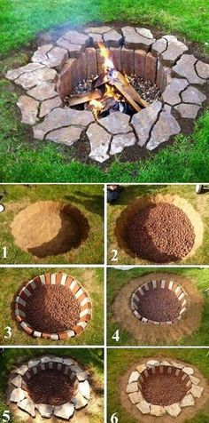 Rustic DIY Fire Pit, DIY Backyard Projects and Garden Ideas, Backyard DIY Ideas on a budget  #gardeningideas #diygardenprojectsbudgetbackyard
