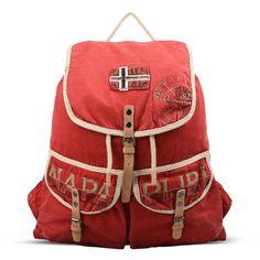 Napapijri Rucksack ($99) ❤ liked on Polyvore featuring bags, backpacks, red, drawstring backpack bag, backpack bags, zipper bag, red drawstring bag and woven backpack