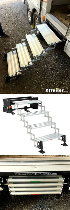 Pull-out steps make it easy to get into or out of your trailer or RV. Scissor design lets you manually collapse steps and fold them up for travel. Landing gear creates a stable connection from the bottom step to the ground