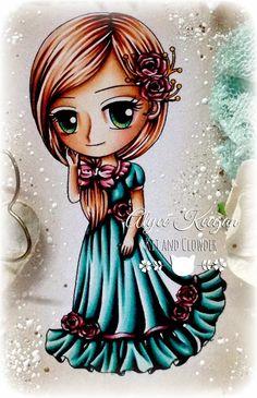 Kit and Clowder: Rosalie -Kit and Clowder - Skin: E000, E00, E21, E11, E04, R20 Hair: E11, E13, E15, E18 Dress: B000, BG13, BG49, BG78 Roses: R81, R83, R85, R89