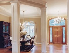 Lovely Kitchen Dining Room Pillars | Victorian House Plan Dining Room Photo 01  Plan 065D 0230