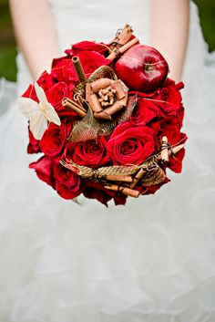 Apple and Cinnamon Bouquet /www.everythingweddingsandmore.net Apple Red and Green Inspiration Board