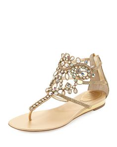 Crystal-Embellished Leather Flat Sandal, Gold by Rene Caovilla at Neiman Marcus.