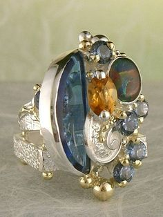 Sterling silver and 14K gold ring with iolite, imperial topaz and agate
