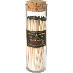 Antique Bottled Long Fireplace Matches - Black