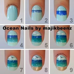 """DIY Ocean/beach nails Sky """"Cyclone Sky"""" by Funky Fingers. Darkest ocean OPI """"Dating A Royal"""" Next ocean Sally Hansen """"Pacific Blue"""" Next ocean Essie """"Naughty Nautical"""" and """"In The Cab-ana"""" Finish with a solid line white polish Cult Nails """"Tempest"""" glitter topper over the ocean only for a little sparkle Sinful Colors """"Green Ocean"""". Sand Zoya Pixie Dust """"Godiva""""."""
