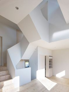 Interior architecture filled with angles, and yet still light and fun. House In Aoto // High Land Design // Architecture Design, Amazing Architecture, Cubist Architecture, Minimal Architecture, Architecture Interiors, Design Interiors, Escalier Design, To Infinity And Beyond, Cool Furniture