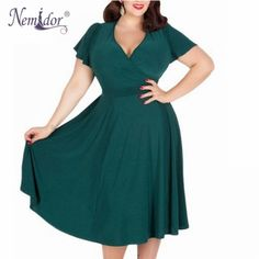 Cheap dresses bride, Buy Quality dress fancy directly from China dress engagement Suppliers: Nemidor Women Sexy V-neck Short Sleeve Party A-line Dress Elegant Stretchy Midi Plus Size Cocktail Swing Dress 50s Dresses, Plus Size Dresses, Elegant Dresses, Plus Size Outfits, Dresses Online, Vintage Dresses, Beautiful Dresses, Dresses For Work, Lounge Dresses