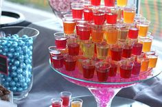 Vodka jello shots on the candy table.....