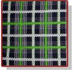 Cotton plaid from MILLY  Color: midnight blue (close to black), white, vibrant lime green. Fiber content: 100% cotton. Width: 55'' Imported from Italy.   Vibrant, joyful cotton plaid from Milly is a heavy weight fabric, and would ideal for a coat or jacket/blazer.