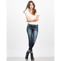Lazer Cut Denim Skinny Jeans ($24) ❤ liked on Polyvore featuring jeans, white distressed jeans, super skinny jeans, white skinny jeans, ripped jeans and white super skinny jeans