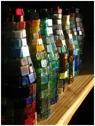 wine bottles with mosaic tiles!