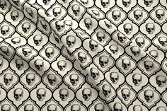 Halloween Fabric - French Skulls - Bone Black By Thecalvarium - Halloween Skull Gothic Victorian Cotton Fabric By The Yard With Spoonflower Halloween Fabric, Halloween Skull, Skull And Bones, Victorian Gothic, Fleece Fabric, Custom Fabric, Spoonflower, French, Quilts