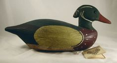 Vintage Carved Wood Decorative Duck Decoy Beautiful Wood Duck Male or Drake SR White Carving For Your Decoy Collection