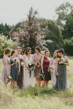 bridesmaid dresses in fall tones - photo by Paula O'Hara http://ruffledblog.com/art-nouveau-irish-mansion-wedding