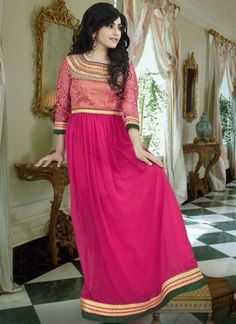 Georgette Party Wear Gown In Pink Colour Party Wear Gowns Online, Long Party Gowns, Evening Gowns Online, Indian Wedding Outfits, Indian Outfits, Indowestern Gowns, Stylish Gown, Ethnic Gown, Gown Suit