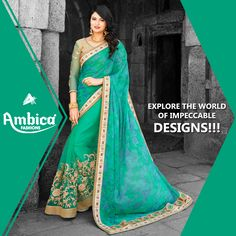 Explore the world of impeccable designs with Ambica Fab Design creations. -- For more details contact us on: 99799-00476 | www.ambicasurat.in #SareesInAmbica #SareesCollection #FashionableSarees #AmbicaCollection