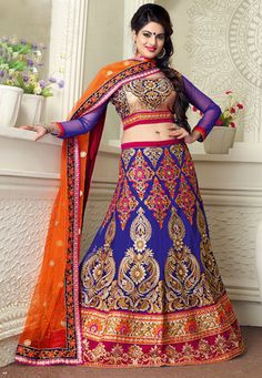 Blue and Fuchsia Net Lehenga Choli with Dupatta  This ensemble is Resham, Golden Zari and Stone Work throughout in Floral, Paisley and Ornamental motif.