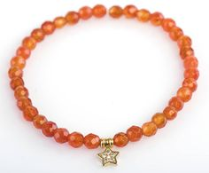 Carnelian Bracelet 4 mm Faceted Carnelian Bracelet Gemstone