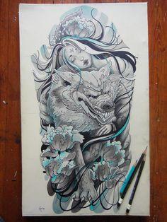 Tattoo design Princess of Wolves - sleeve by Xenija88.deviantart.com