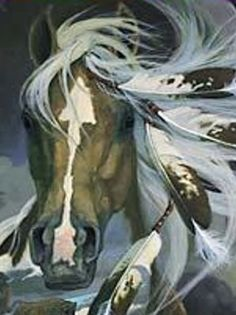 Painting of an actual War Horse with a natural arrow pattern on its face Native American Horses, Native American Artwork, Native American Beauty, American Indian Art, Bev Doolittle, Indian Horses, Painted Pony, Horse Drawings, Deviant Art