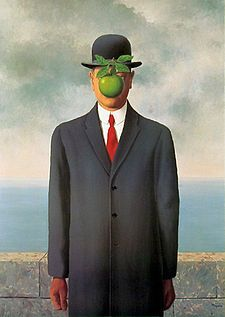 The Son of Man, Rene Magritte 1964 Magritte painted it as a self-portrait. The man's eyes can be seen peeking over the edge of the apple. Another subtle feature is that the man's left arm appears to bend backwards at the elbow.