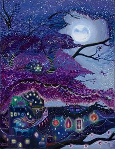 My Purple Dream- giclee print in canvas.. 11x14- purple, whimsical, lanterns, stars, moon, twinkling. $49.50, via Etsy.